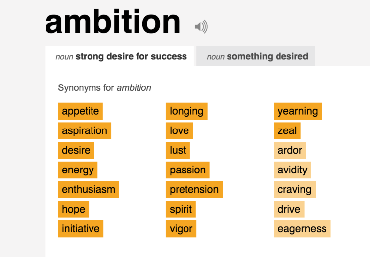 ambition synonyms