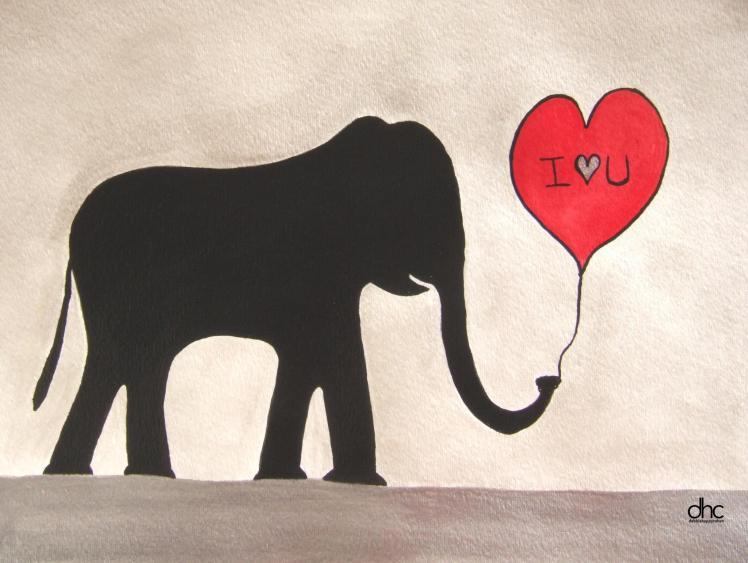 debbie elephant i love you painting 398