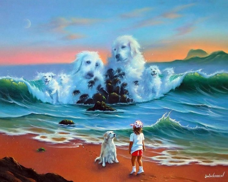 dogs in water painting wyland